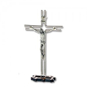 Nickel-plated metal cross with oxidized body and base