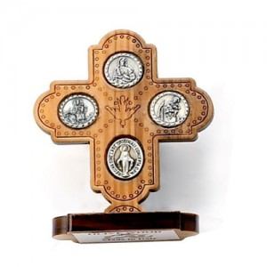 Scapular metal olive cross with base
