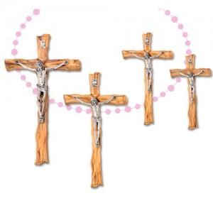Croce in ulivo tronchetto corpo in metallo
