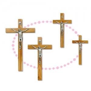 Croce in legno olivo e Cristo in metallo