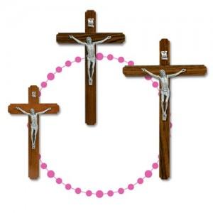Croce in legno di noce laccato e metallo