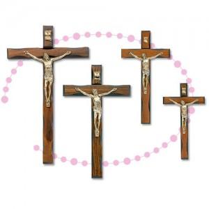 Croce in legno di noce lavorato e metallo