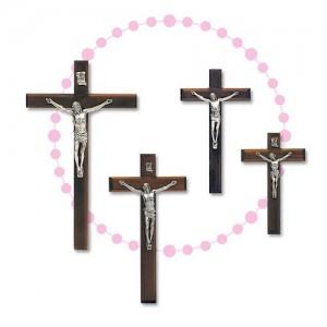Croce in legno di noce e corpo di Cristo in metallo