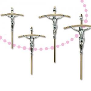 Croce in ottone e Cristo in metallo