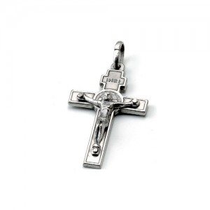 Croce di San Benedetto in argento con scatola