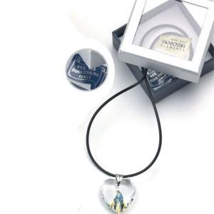 Medaglia in cristallo Swarovski a cuore con anello in argento e collana caucciù