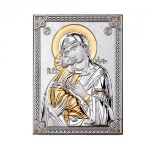 Icona in legno e argento Madonna Bambino