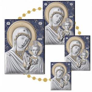 Icona Russa in Argento con fondo Blu