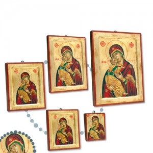 Icona Greca in legno e foglia oro con serigrafia su tela