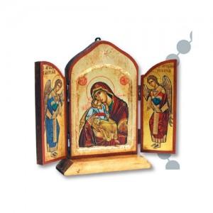 Trittico Greco in legno con serigrafia dorata su tela