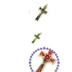 Croce metallo smaltato con anello