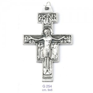 Croce San Damiano in metallo ossidato