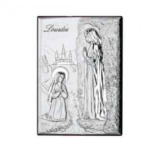 Quadro legno e argento Madonna di Lourdes