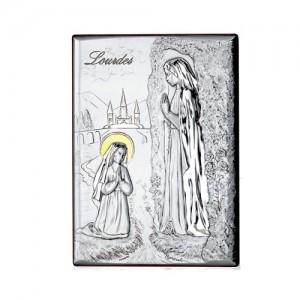 Quadro legno e argento Madonna di Lourdes con oro