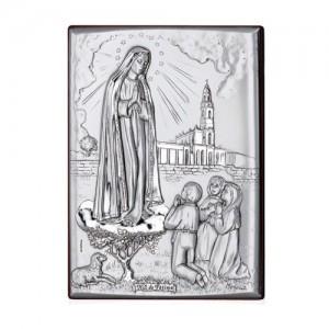 Quadretto legno e argento Madonna di Fatima