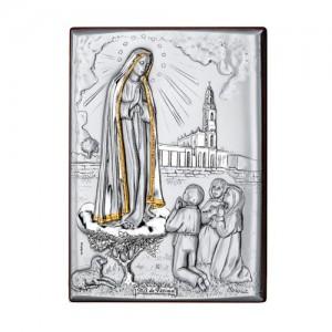 Quadro legno e argento Madonna di Fatima con oro