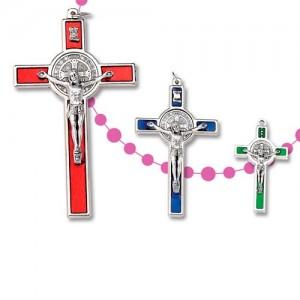Croce San Benedetto dritta in metallo nichelato e smaltato