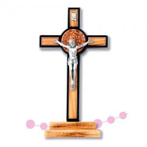 Croce San Benedetto in metallo con medaglia ulivo con base