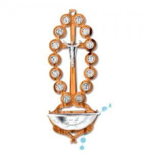 Acquasantiera ovale Via Crucis ulivo e metallo