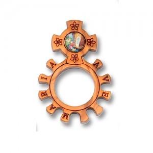 Anello dito in ulivo con immagine resinata