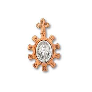 Basque rosary in olive wood with Ave Maria metal plate