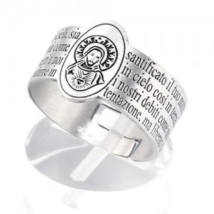 Silver ring with prayer Our Father