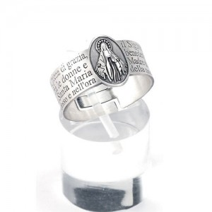 Silver ring with prayer Ave Maria