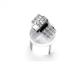 Silver ring with prayer Angel of God