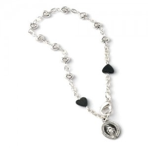 Metal bracelet with metal hearts and pater in Hematite