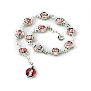 Guadalupe and Merciful Jesus bracelet in enamelled metal