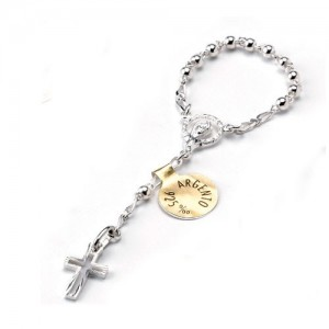 One decade rosary in silver with silver binding