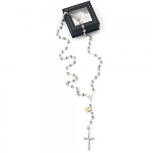 Rosary in silver and Swarovski crystal