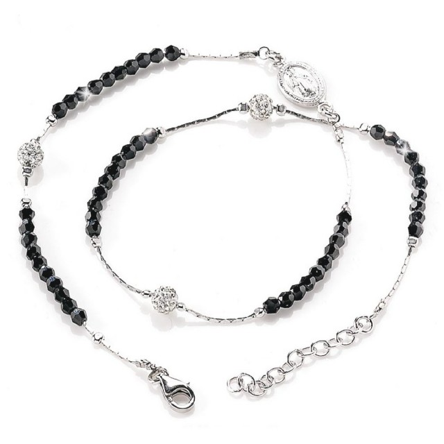 Rosary with necklace in Rhodium Silver and Swarovski