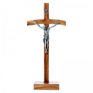 Pastoral cross in olive wood with base