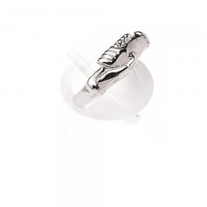 Rosary ring in silver with hands