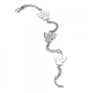 Rhodium-plated silver bracelet Angels with prayer