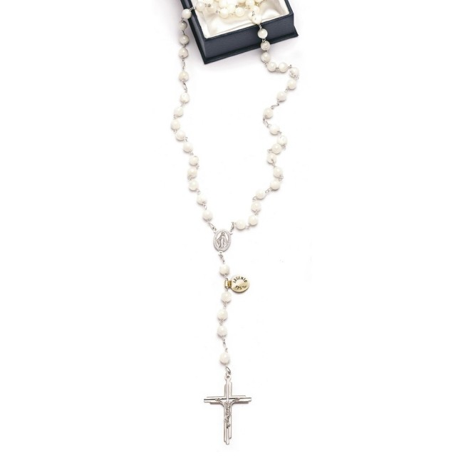 Rosary in silver and mother of pearl