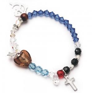 Bracciale elastico Gesù con grani cristallo Swarovski