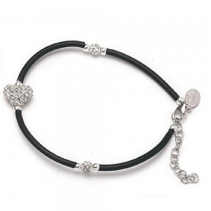 Bracelet in rubber and silver with strass heart and Miraculous