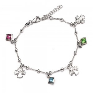 Rhodium-plated silver bracelet with angels and rhinestones