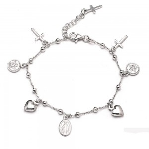 Rhodium-plated silver bracelet with medals