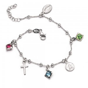 Rhodium-plated silver bracelet with medals and rhinestones