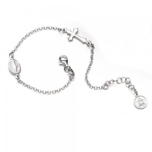Silver bracelet with cross and medal of the Miraculous