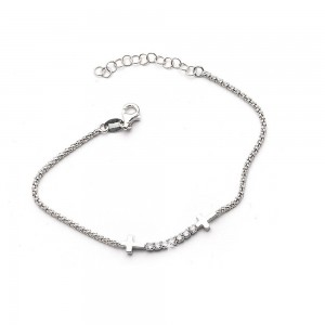 Rhodium-plated silver bracelet with Cross and Rhinestones