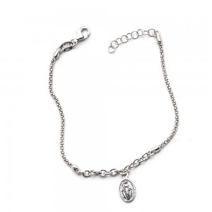 Bracciale argento rodiato con Medaglia Madonna Miracolosa