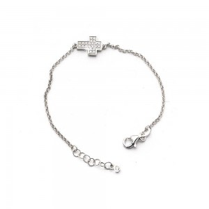Rhodium-plated silver bracelet with a large cross with rhinestones
