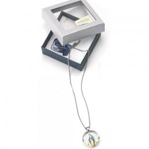 Medaglia in cristallo Swarovski con anello e catenina in argento