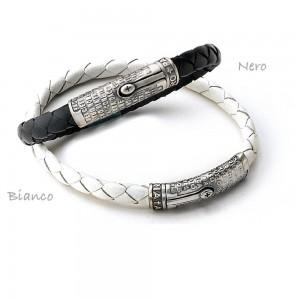 Bracciale in argento e pelle con preghiera
