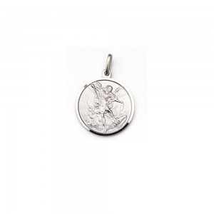 Medaglia San Michele Arcangelo in argento rodiato