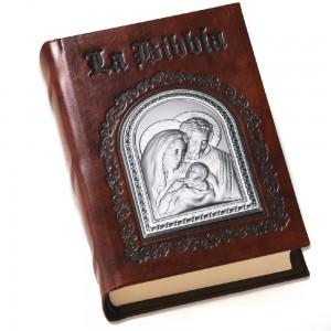 La Santa Bibbia in pelle con lastra in argento